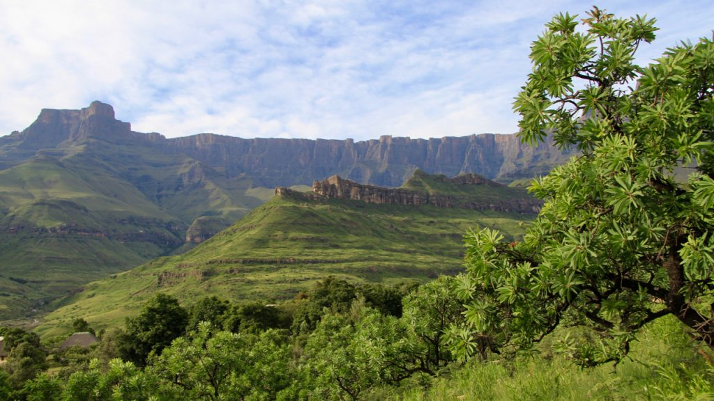 The full might of the Amphitheatre in the Drakensberg Mountains is revealed