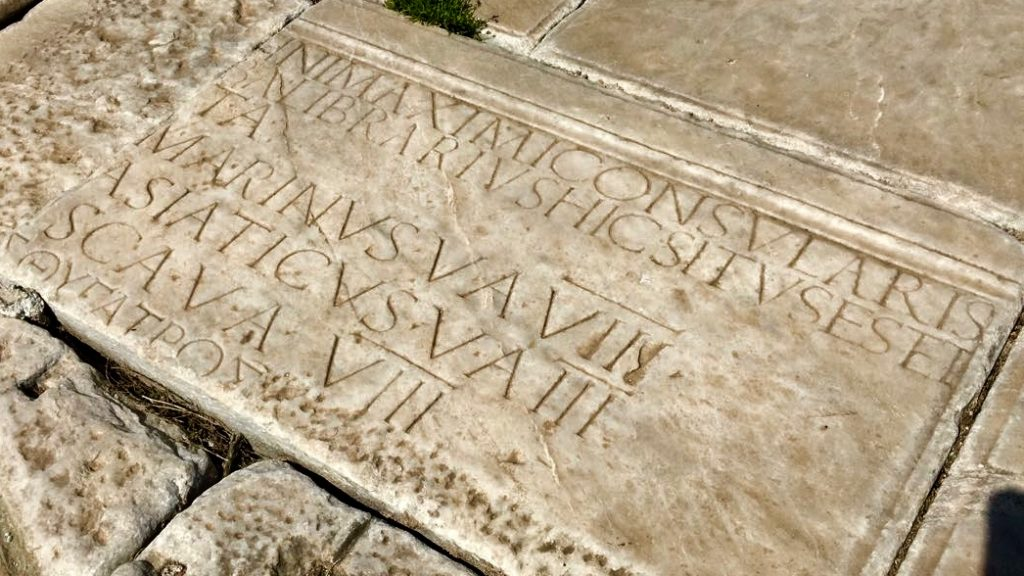 Engraved stone with text in Ephesus.
