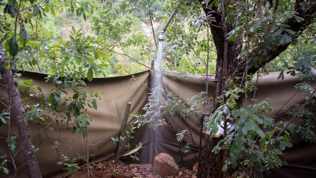 Outdoor shower at Black Leopard Mountain Lodge