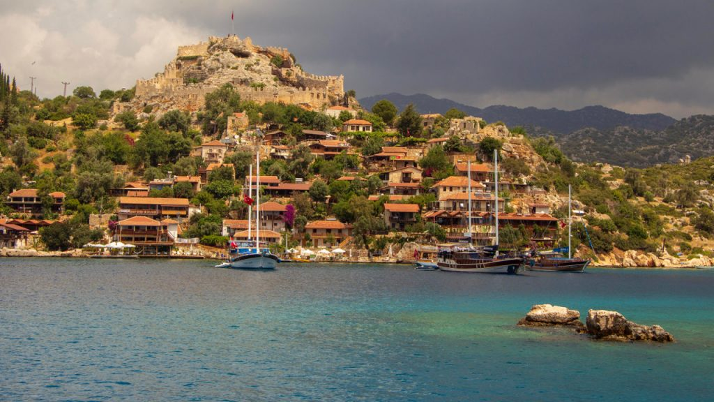 Pretty village of Simena from a Blue Cruise on the Turkish Aegean.