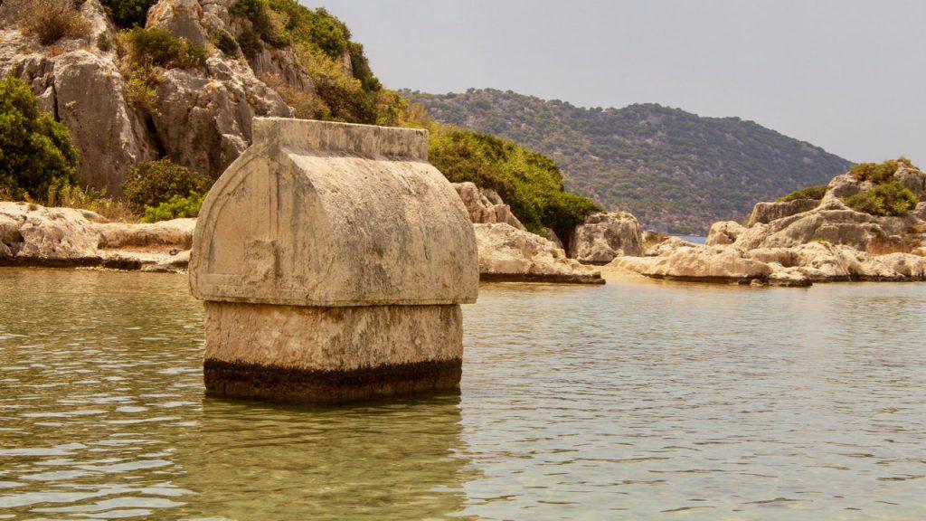 Lycian Tombs, Sunken city of Kekova, Turkey.