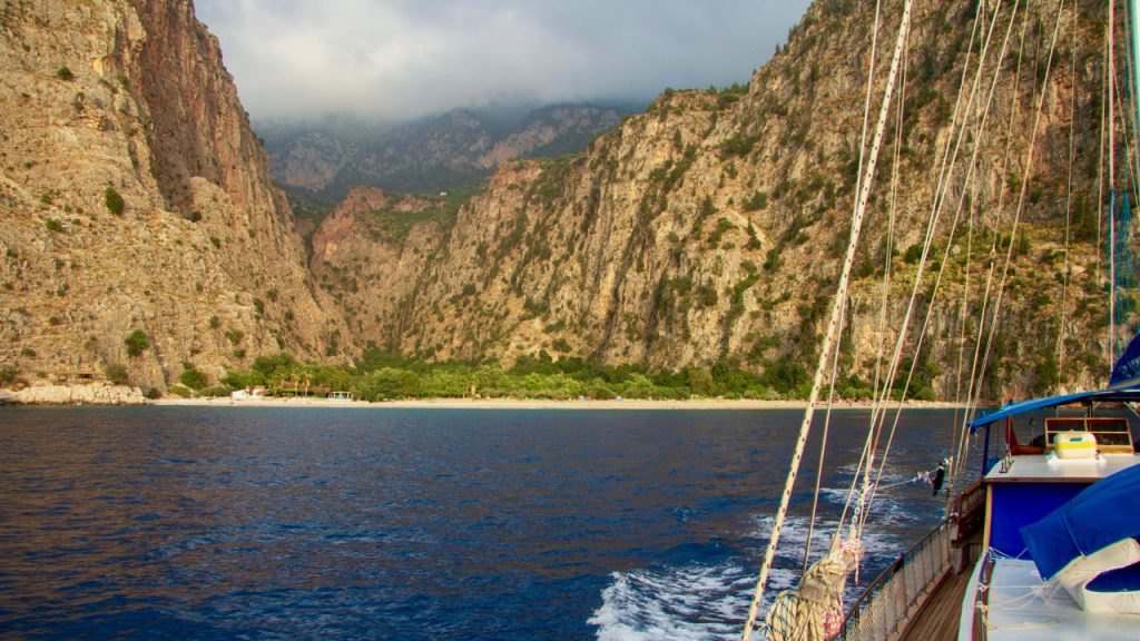 Butterfly Valley from the deck of a Blue Cruise gulet on the Turkish Riviera