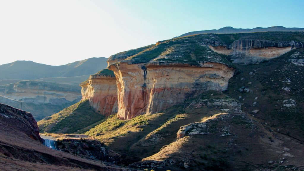 Sunset highlights the sandstone cliffs of the Golden Gate Highlands National Park