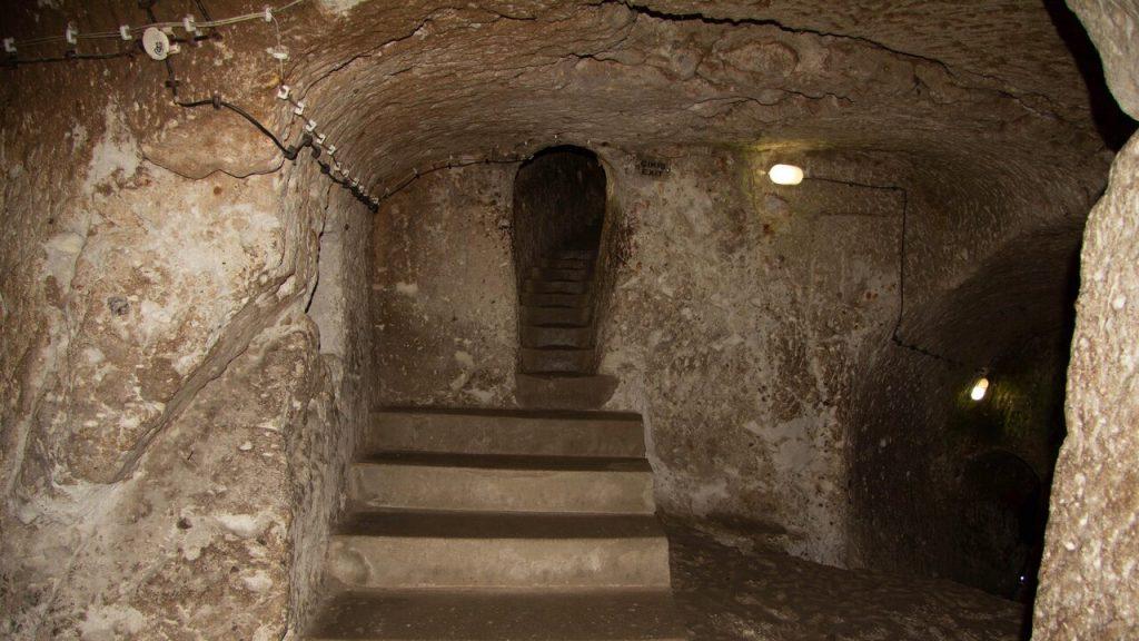 Passage ways lead up and down in Cappadocia's Derinkuyu Underground City.