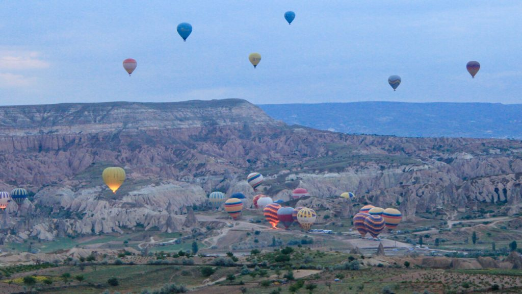 View of hot air balloons from the sky in Cappadocia