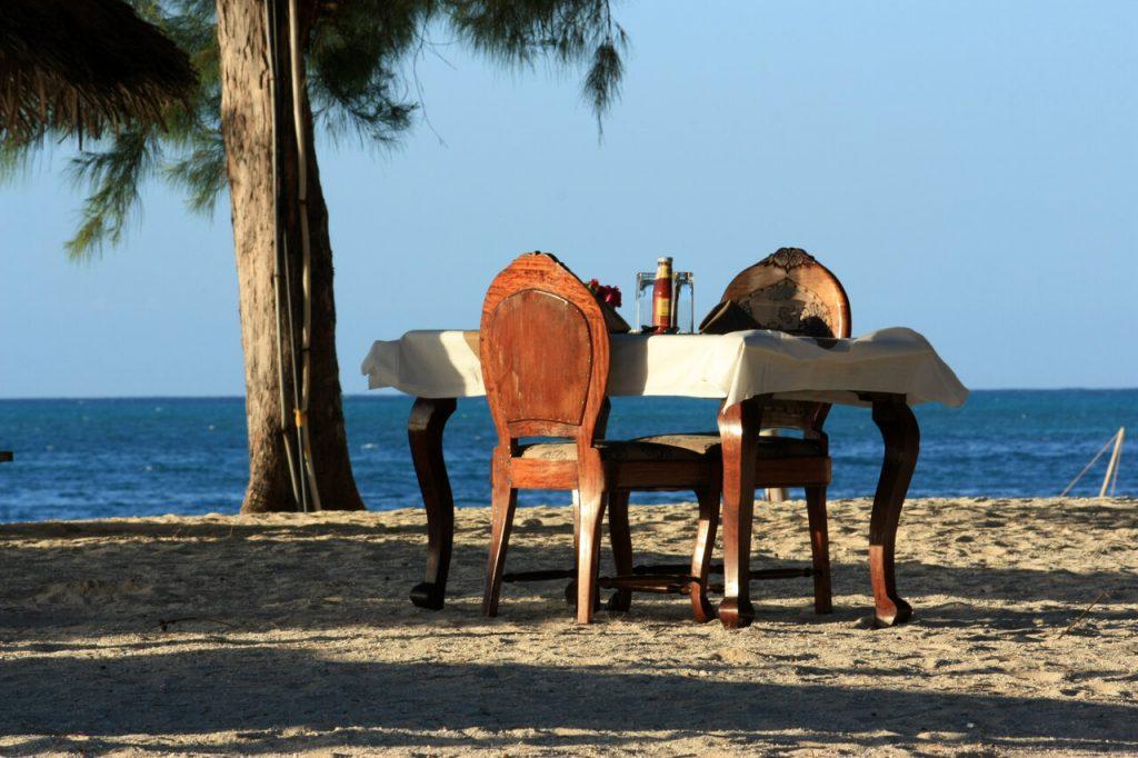 Dinner table on the Zanzibar beach